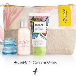 Brand new L'OCCITANE beauty pouch w/ 3 trials
